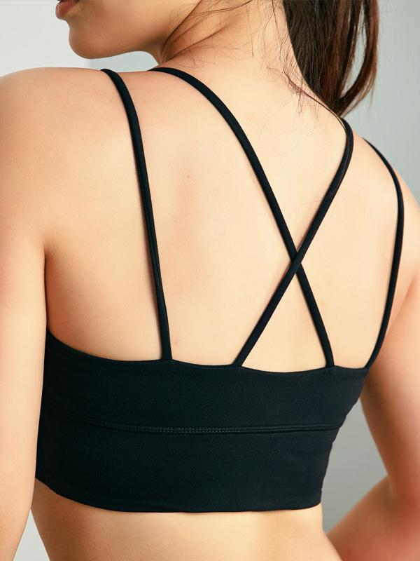 Solid Wire Free Cross Back Beautiful Sports Bra
