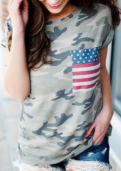 Camouflage  America Flag Pocket T-shirt