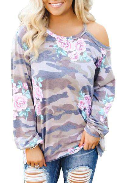 Camouflage Flower Printing Off-Shoulder Blouse