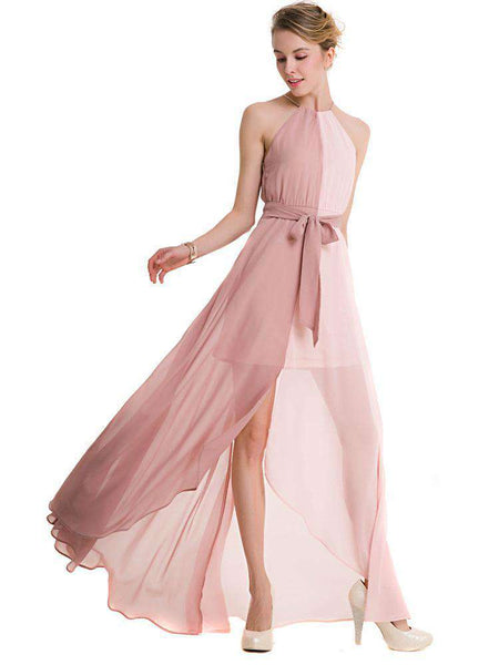 Chiffon Sexy Halter Long Dress
