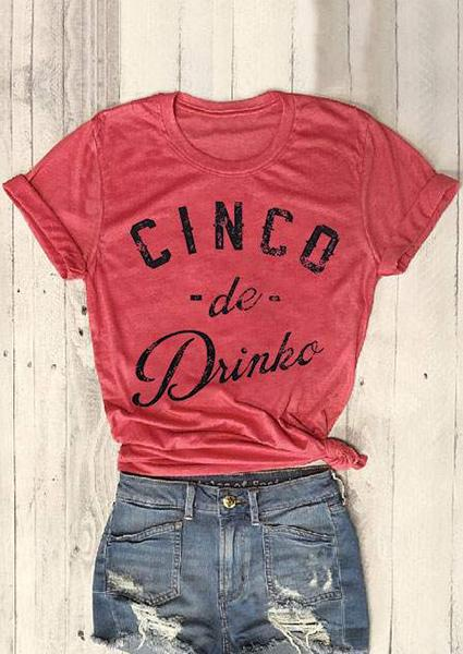 Cinco De Drinko Letter T-shirt