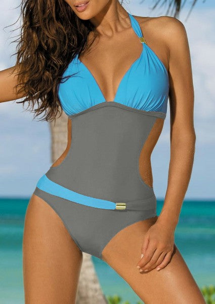 Color Block Metallic Ornament Swimsuit
