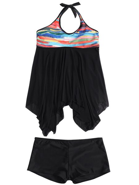 Color Printing Large Size Split Swimsuit