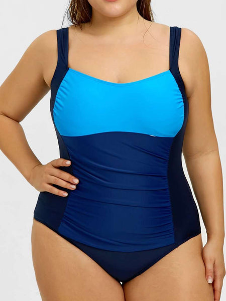 Contrast Large Size One-piece Swimsuit-Plus Size Swimsuit-2UBest.com-Dark blue-2XL-2UBest.com
