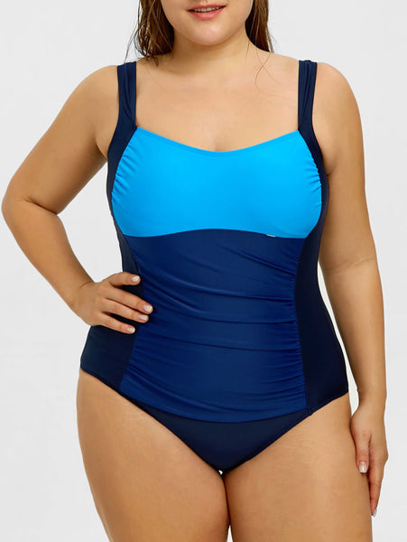 Contrast Large Size One-piece Swimsuit-Plus Size Swimsuit-2UBest.com-2UBest.com