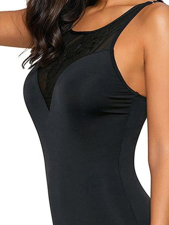 Embroidered Mesh Stitching One-piece Swimsuit