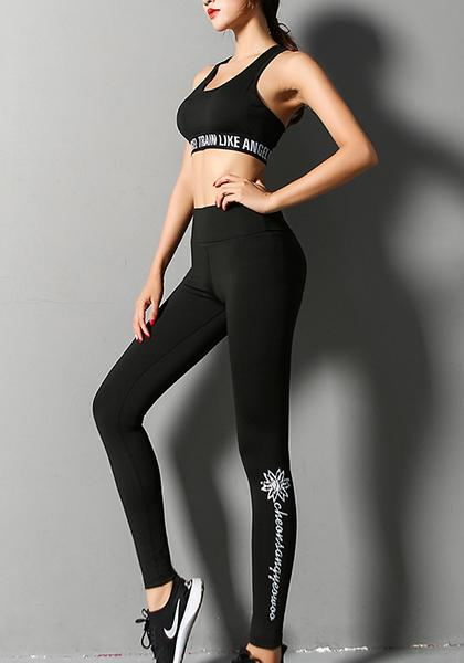 English Letter Printed High Waist Stretchy Workout Long Yoga Leggings