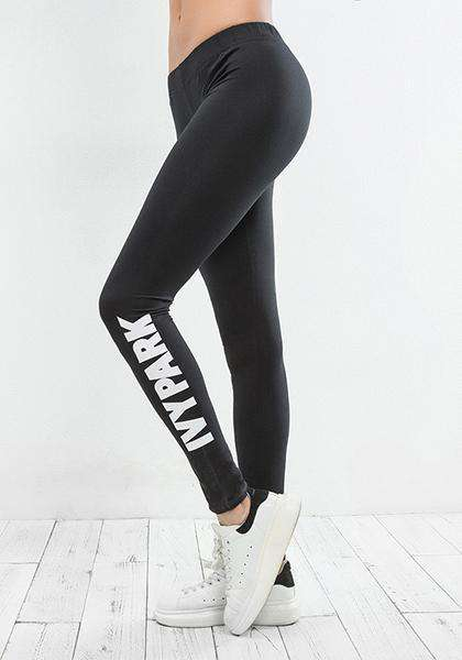 English Letter Printed Yoga Pants