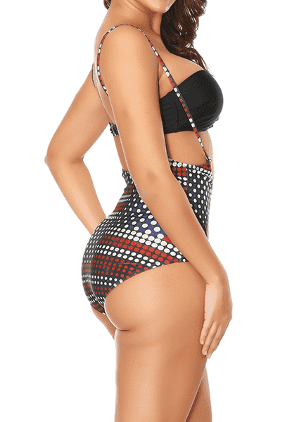 European and American flag wave points Plus Size swimwear