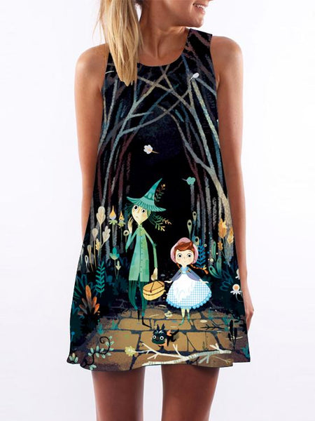 Pattern ng Fairy Tale na Naka-print na Loose Dress