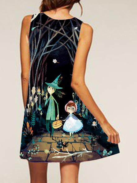 Fairy Tale Pattern Printed Loose Dress