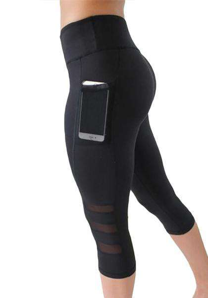 Fitness Mesh Capri Yoga Pants With Pocket