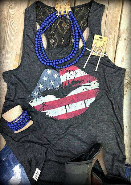 Flag Lipped Printed O-neck Tank
