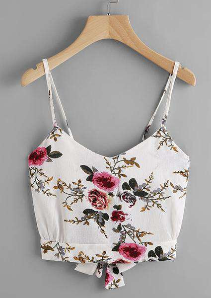 Floral Print Random Split Tie Back Top