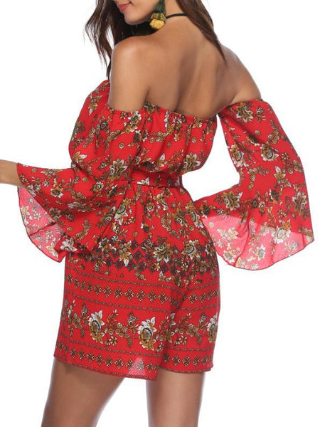 Floral Printed  Horn Sleeve Off Shoulder Jumpsuites