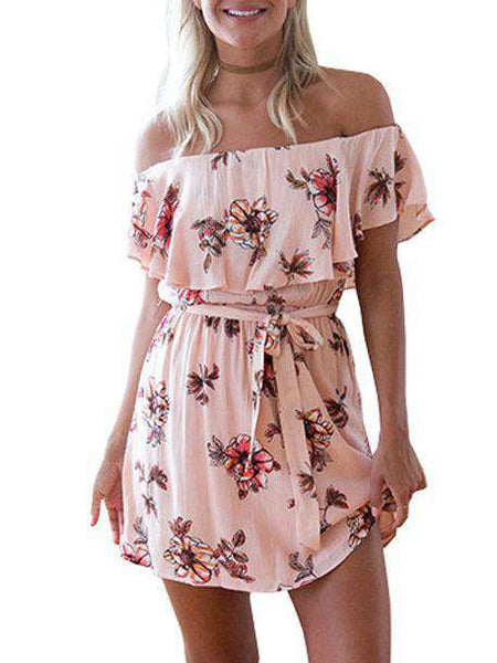 Floral Printed Off Shoulder Dress