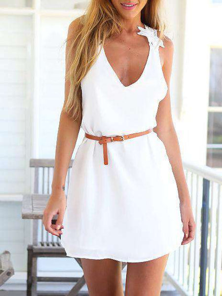 Floral Slip White V-Neck Harlter Dress