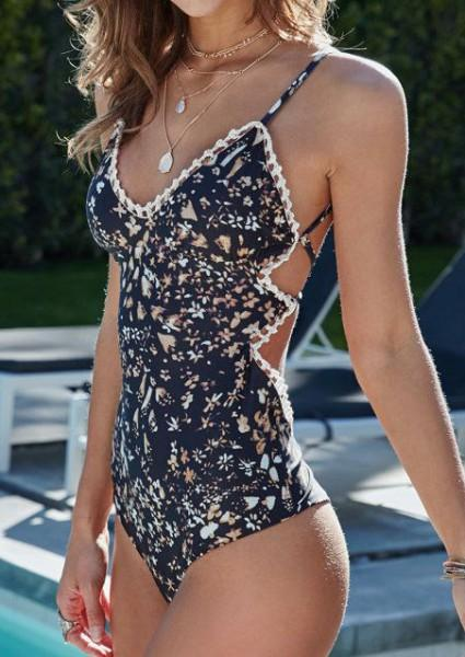Floral Splicing Swimsuit without Necklace