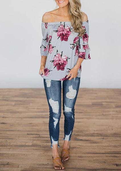 Flower Printing Off-shoulder Ruffled Tops