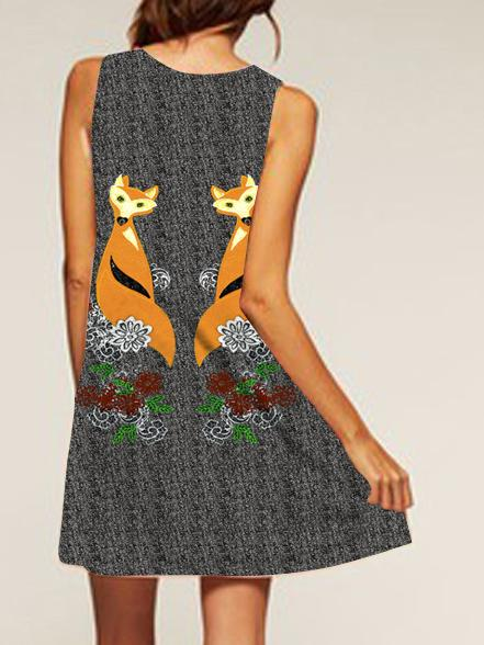 Fox Pattern Printed Loose Dress
