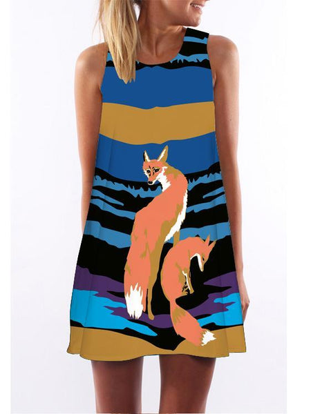 Fox Loose Dress Imprimé