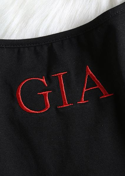 GIA Letter Printing Backless Crop Tops