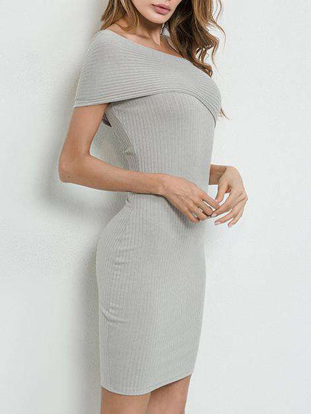 Gray One Shoulder Off Bodycon Dress