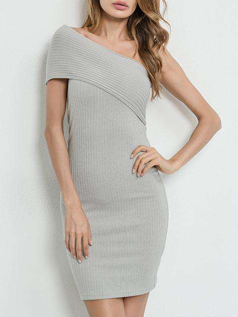 Graue One-Shoulder-Off-figurbetontes Kleid