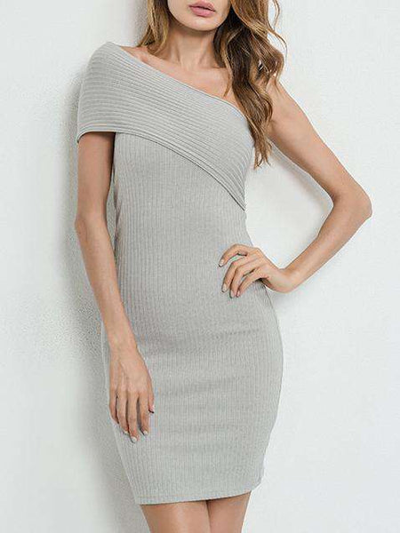 Grey One Shoulder Off Bodycon Dress