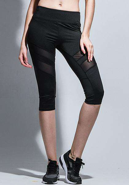 Calças Gym Athletic Mesh Patchwork Yoga Capris