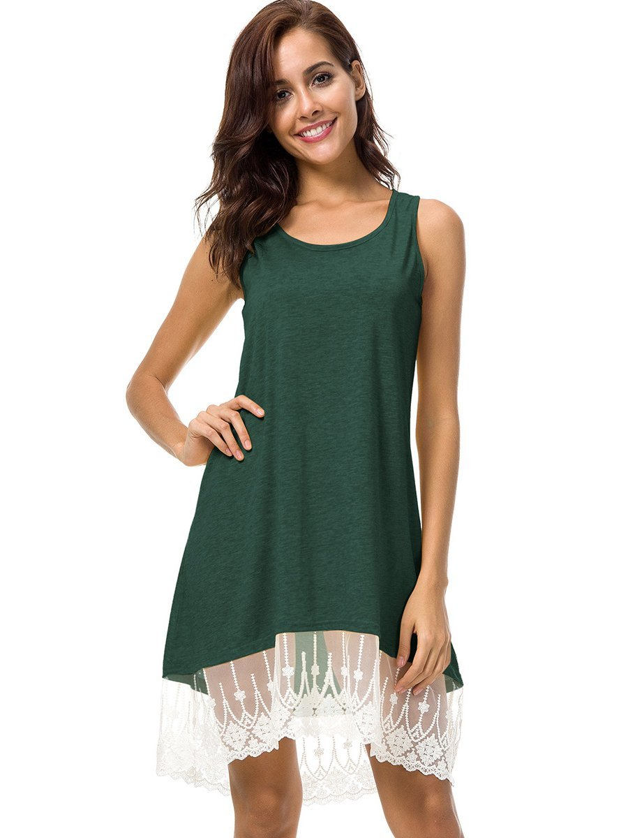 Sleeveless Lace Short Casual Dress-Dress-2ubest.com-Green-S-2UBest.com
