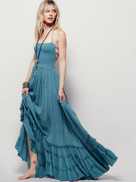Halter Backless Sexy Beach Cotton Solid Color Dress