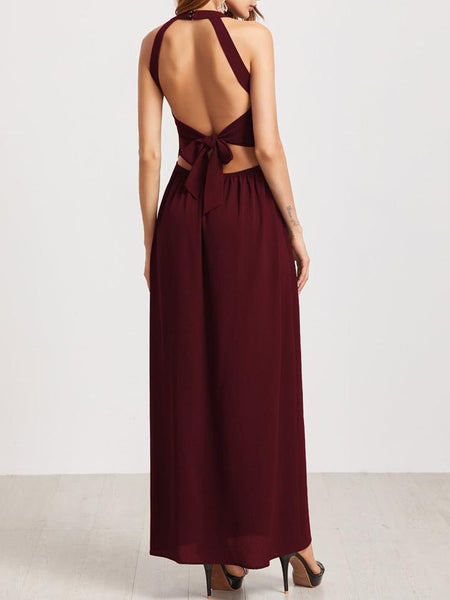 Halter Side Vent Dress