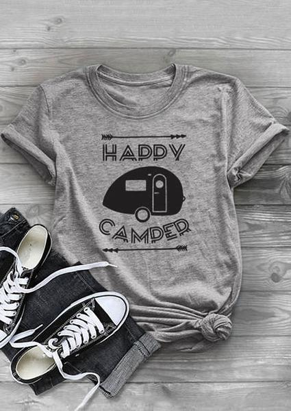 Happy Camper  Letter Printing T-shirt