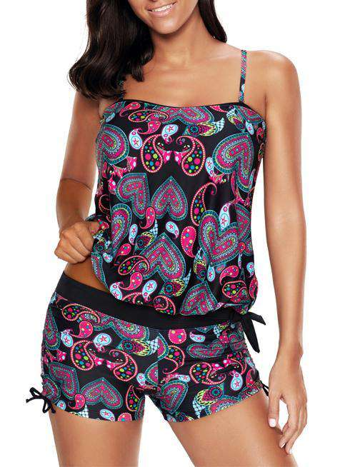 Heart-shaped Printed Swimwear