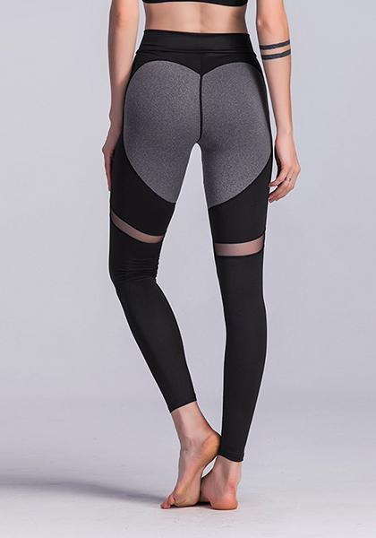 Heart Patchwork Mesh respirável Slim Yoga Leggings