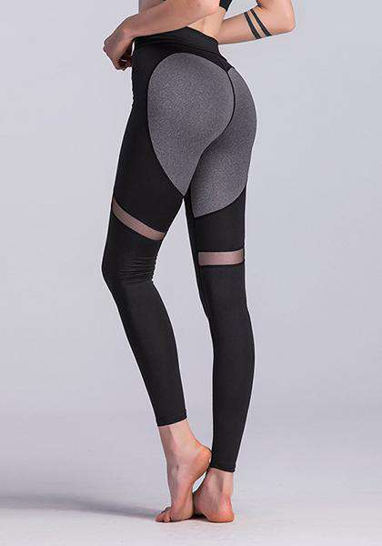 Heart Patchwork Mesh Breathable Slim Yoga Leggings
