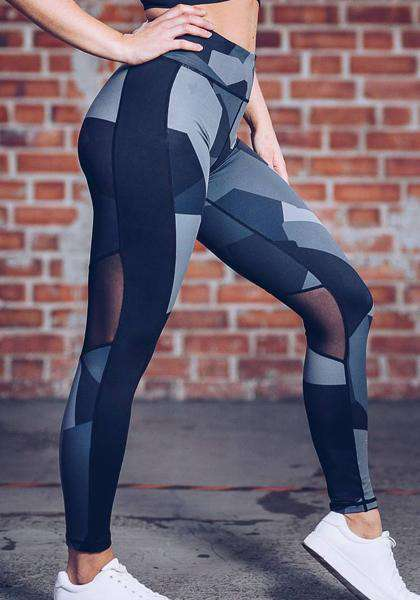 High Waist Digital Printed Mesh Patchwork Long Yoga Leggings