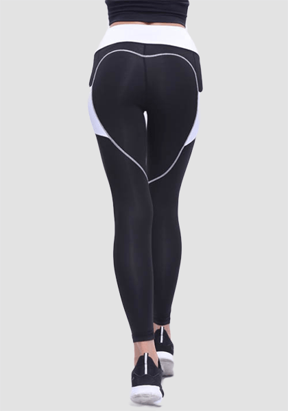 High Waist Heart Shape Booty Legging With Pocket-Long Leggings-2UBest.com-Black-XL-2UBest.com
