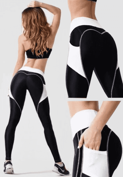 High Waist Heart Shape Booty Legging With Pocket-Long Leggings-2UBest.com-2UBest.com