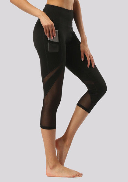 High Waist Midi Mesh Yoga Pants