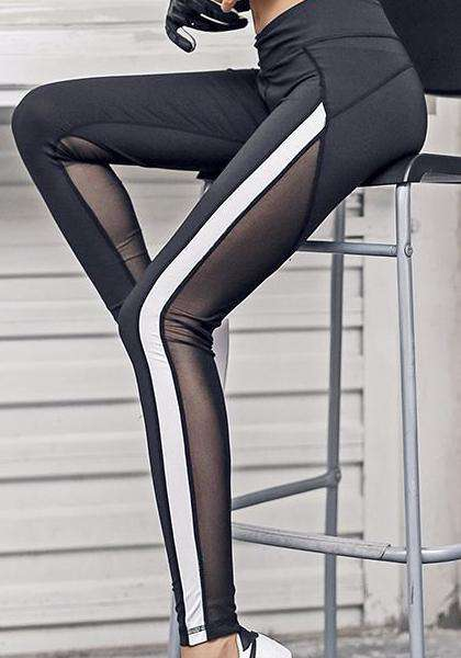 High Waist Quick-drying Skinny Mesh Patchwork Leggings