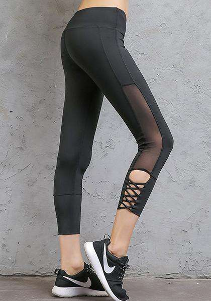 Mataas na baywang Sexy Quick-Drying Stretchy Mesh Yoga Capris Pants