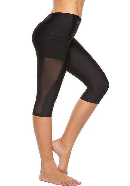 High Waist Side Pocket Mesh Yoga Capris Pants