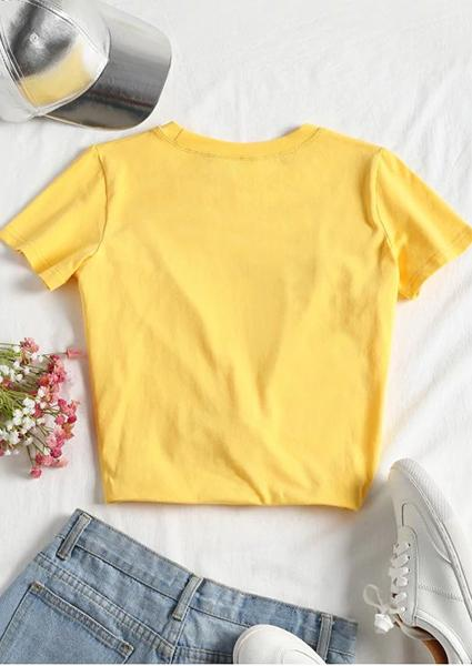 Honey Tied Printed Short Letter T-Shirt