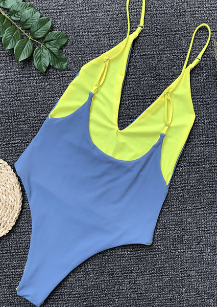 Contrast color swimsuits on both sides