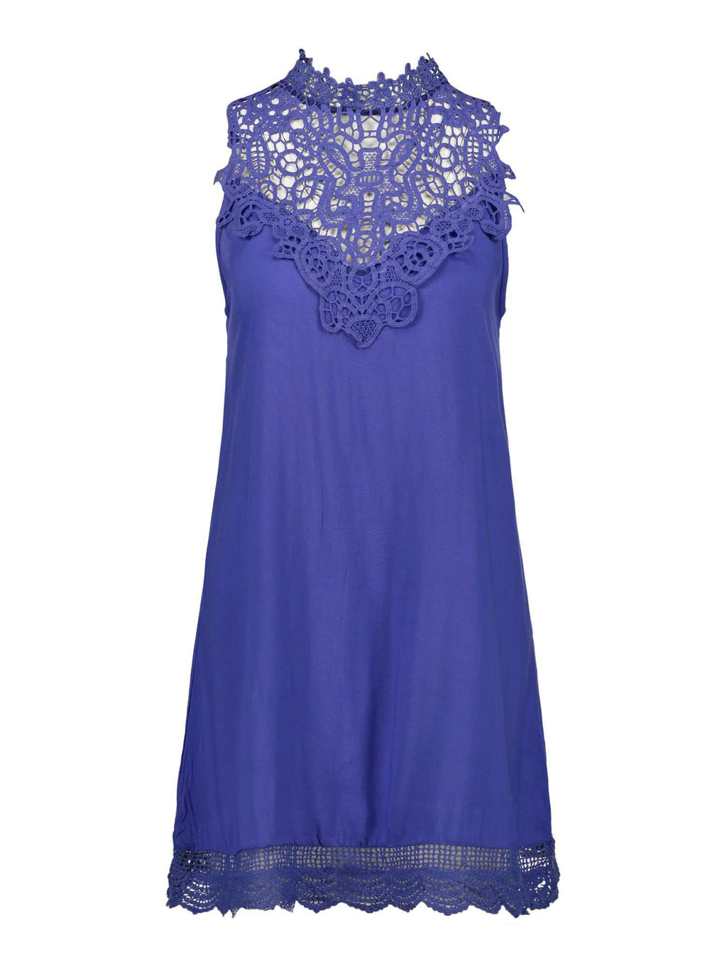 Lace-trimmed Sleeveless Dress