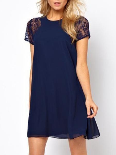 Lace Sleeve Solid Color Dress