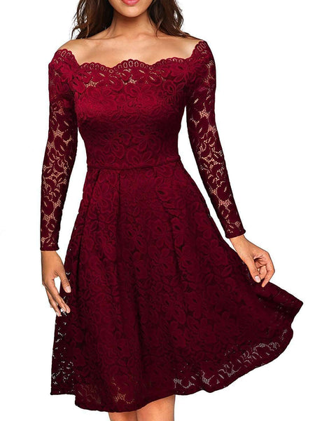 Lace Solid Color Dress