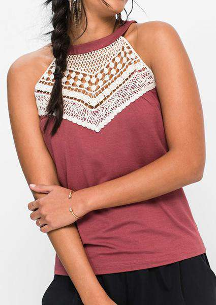Lace spliced ​​off Shoulder Tanks